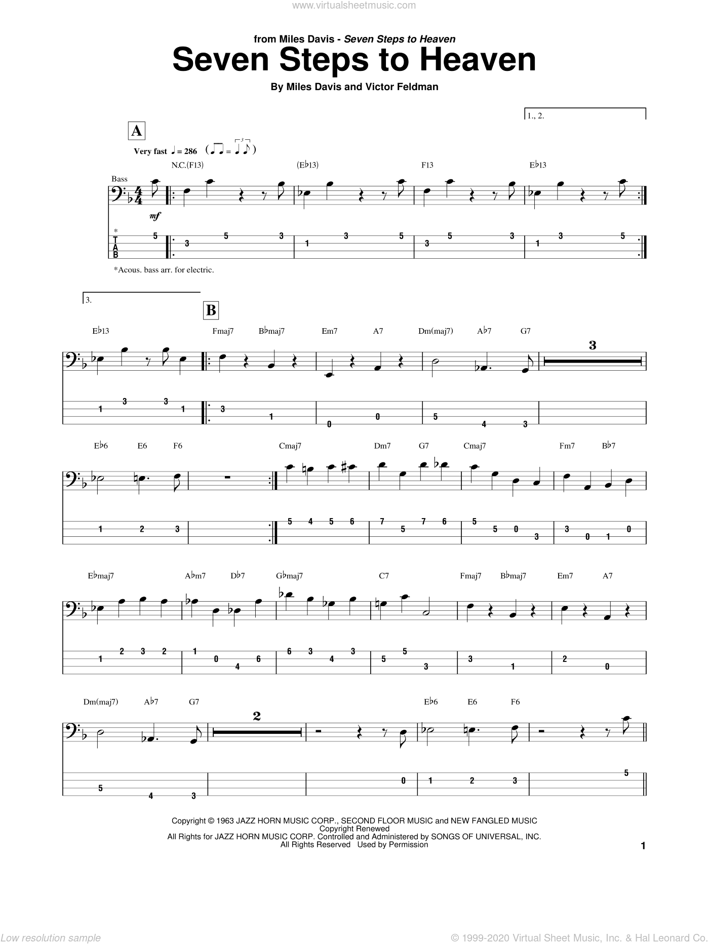 Davis - Seven Steps To Heaven sheet music for bass (tablature) (bass guitar)