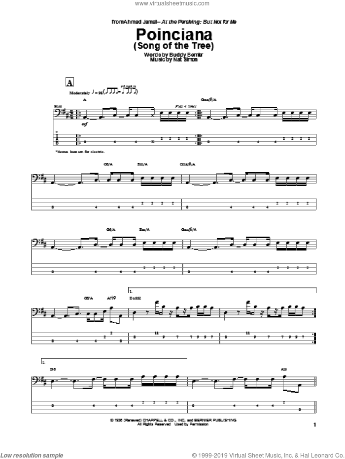 Poinciana (Song Of The Tree) sheet music for bass (tablature) (bass guitar) by Nat Simon and Buddy Bernier, intermediate skill level