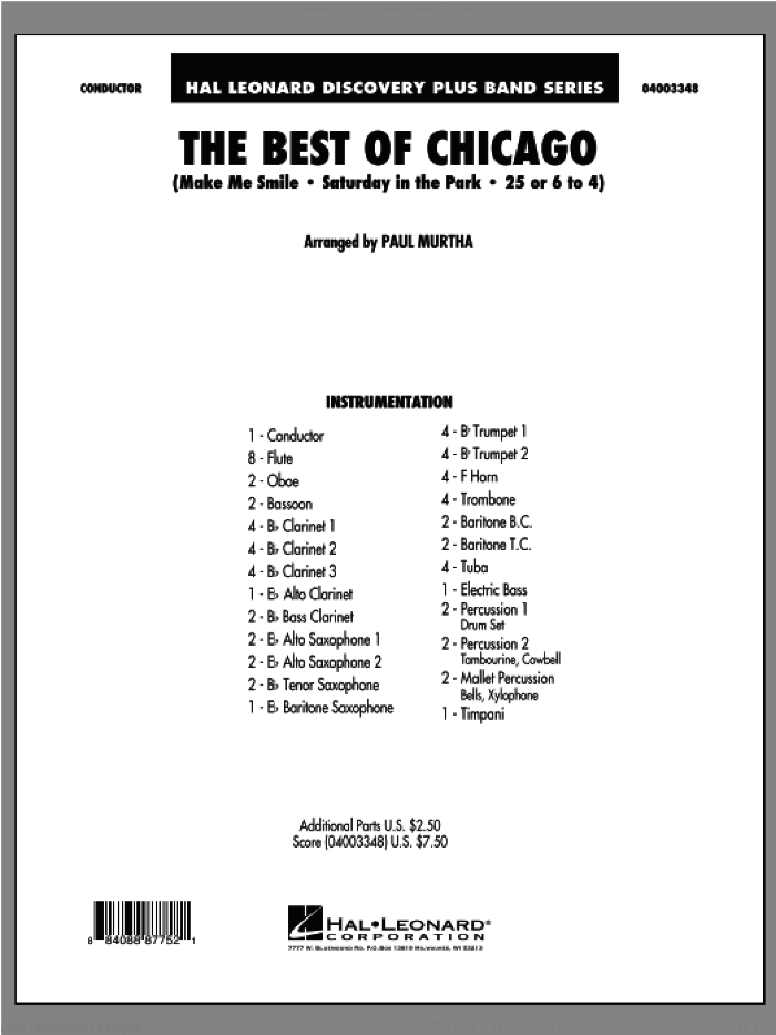 The Best Of Chicago (COMPLETE) sheet music for concert band by Paul Murtha and Chicago, intermediate skill level