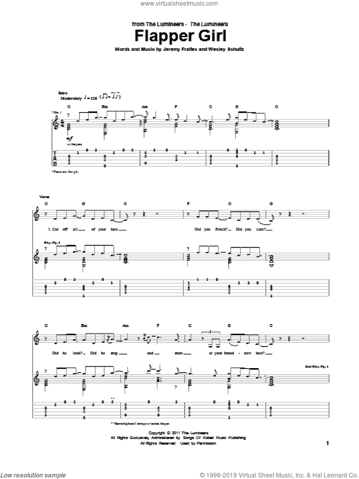 Flapper Girl sheet music for guitar (tablature) by The Lumineers, intermediate