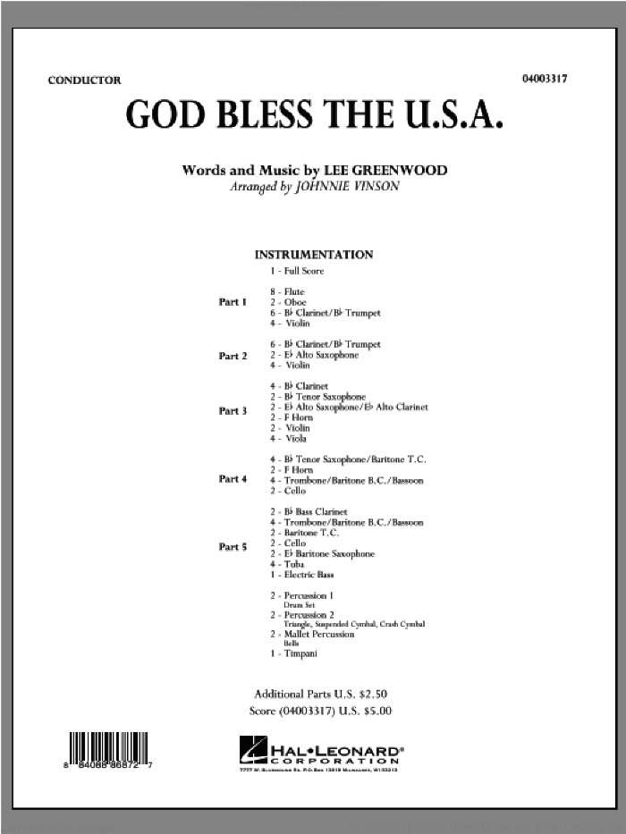 God Bless The U.S.A. sheet music for concert band (full score) by Johnnie Vinson