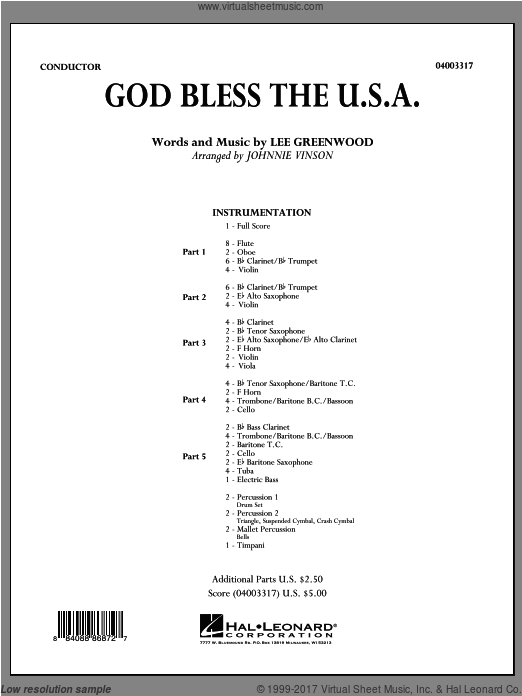 God Bless The U.S.A. (COMPLETE) sheet music for concert band by Johnnie Vinson