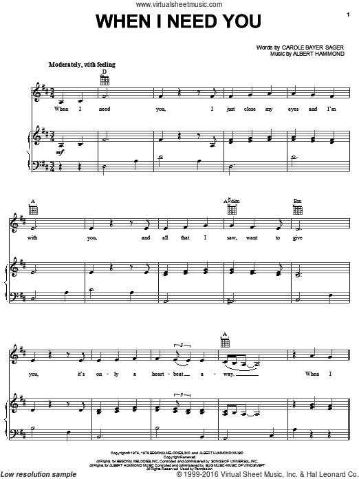 When I Need You sheet music for voice, piano or guitar by Leo Sayer, Julio Iglesias, Albert Hammond and Carole Bayer Sager, intermediate voice, piano or guitar. Score Image Preview.