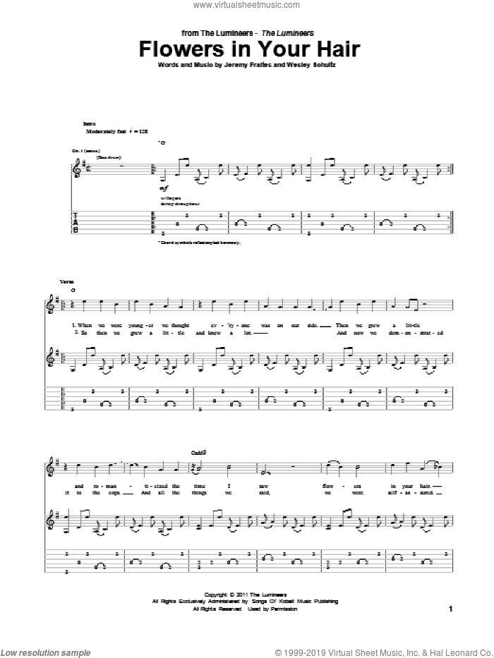 Flowers In Your Hair sheet music for guitar (tablature) by The Lumineers. Score Image Preview.