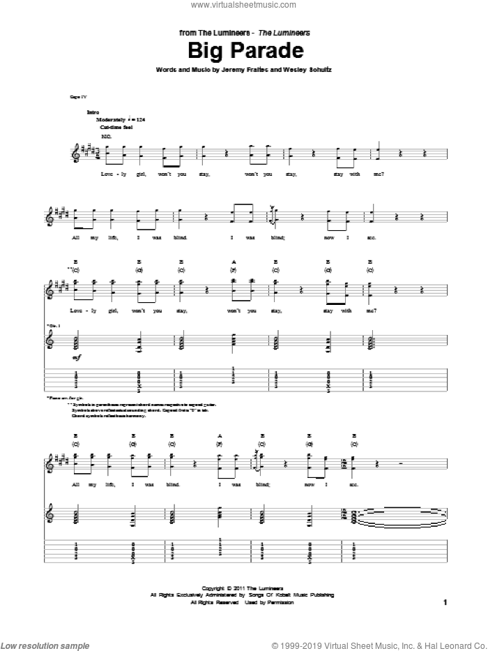 Big Parade sheet music for guitar (tablature) by The Lumineers. Score Image Preview.