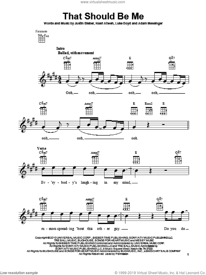 That Should Be Me sheet music for ukulele by Justin Bieber. Score Image Preview.