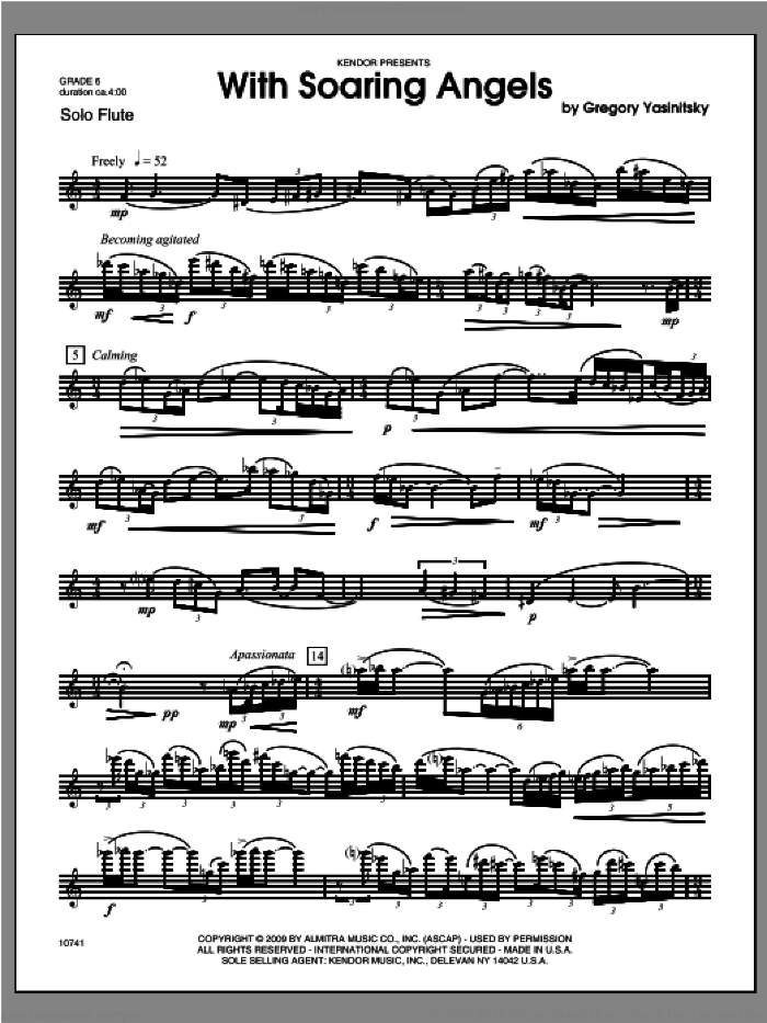 With Soaring Angels sheet music for flute solo by Yasinitsky, classical score, intermediate skill level