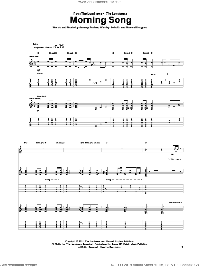 Morning Song sheet music for guitar (tablature) by The Lumineers, intermediate skill level