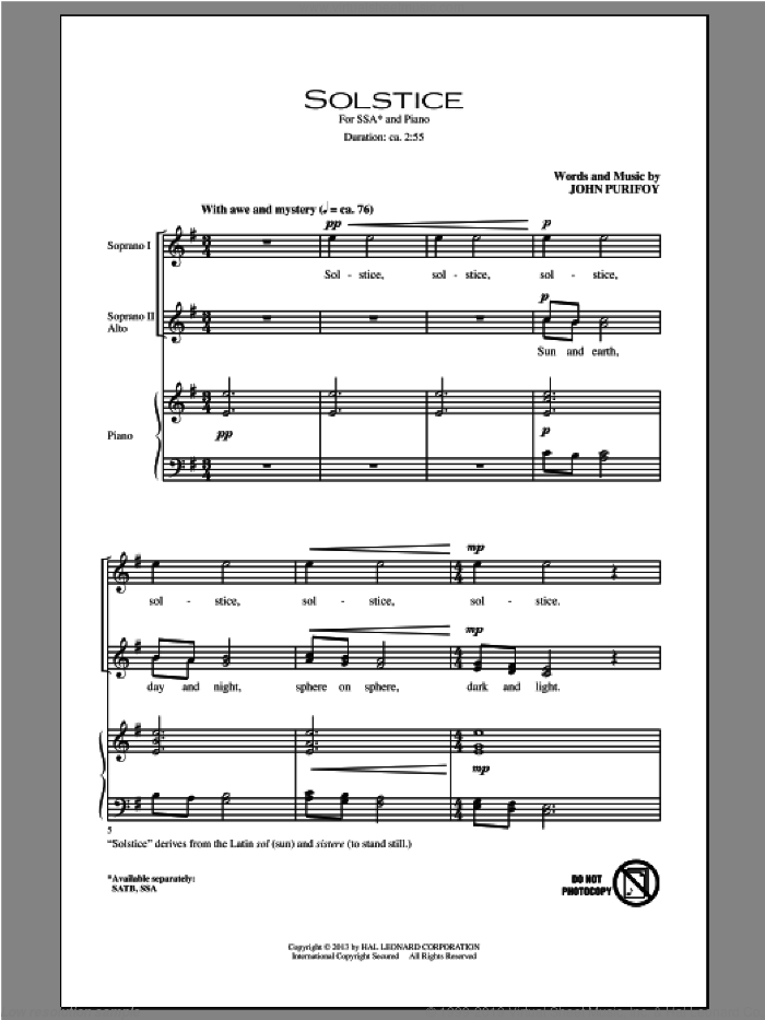 Solstice sheet music for choir (SSA: soprano, alto) by John Purifoy, intermediate skill level