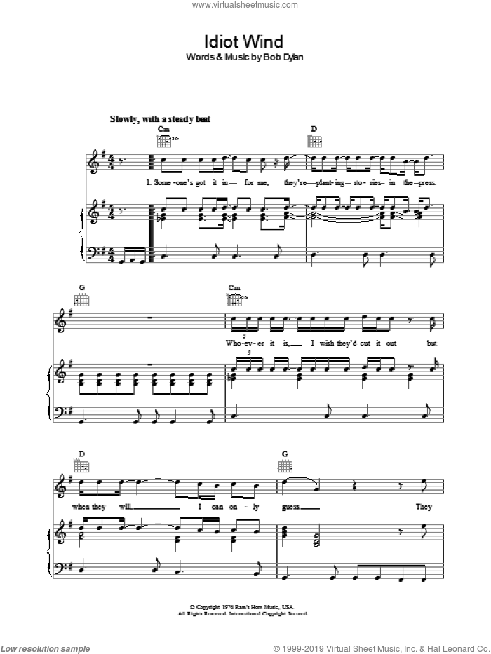 Idiot Wind sheet music for voice, piano or guitar by Bob Dylan. Score Image Preview.
