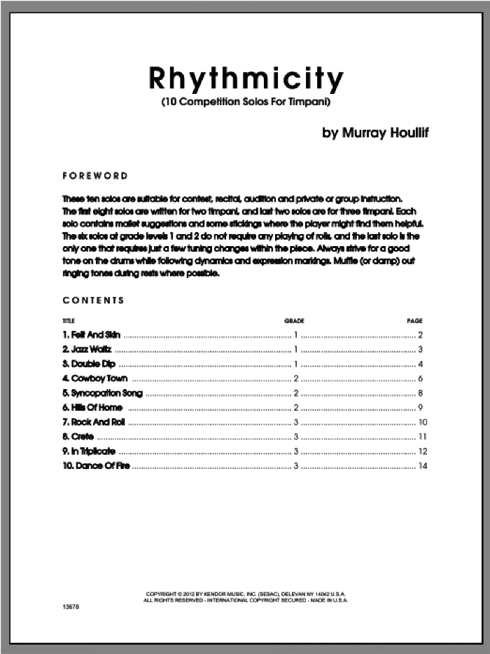 Rhythmicity (10 Competition Solos For Timpani) sheet music for percussions by Houllif, classical score, intermediate skill level