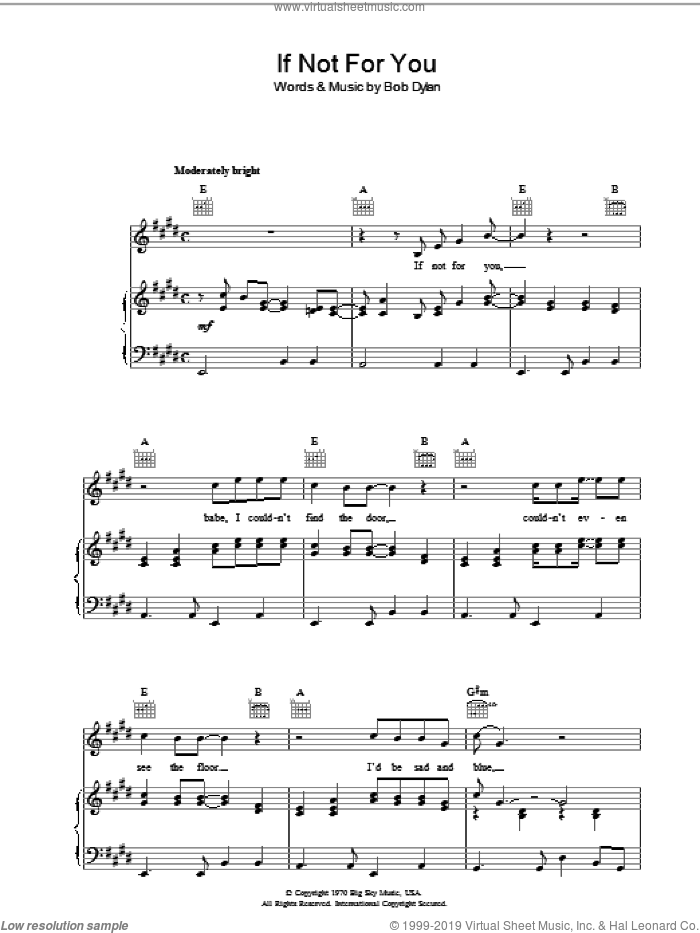 If Not For You sheet music for voice, piano or guitar by Bob Dylan. Score Image Preview.
