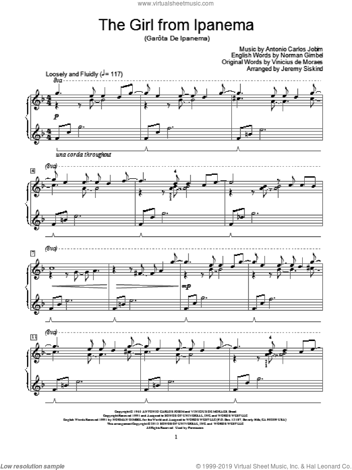 The Girl From Ipanema sheet music for piano solo (elementary) by Antonio Carlos Jobim, beginner piano (elementary). Score Image Preview.