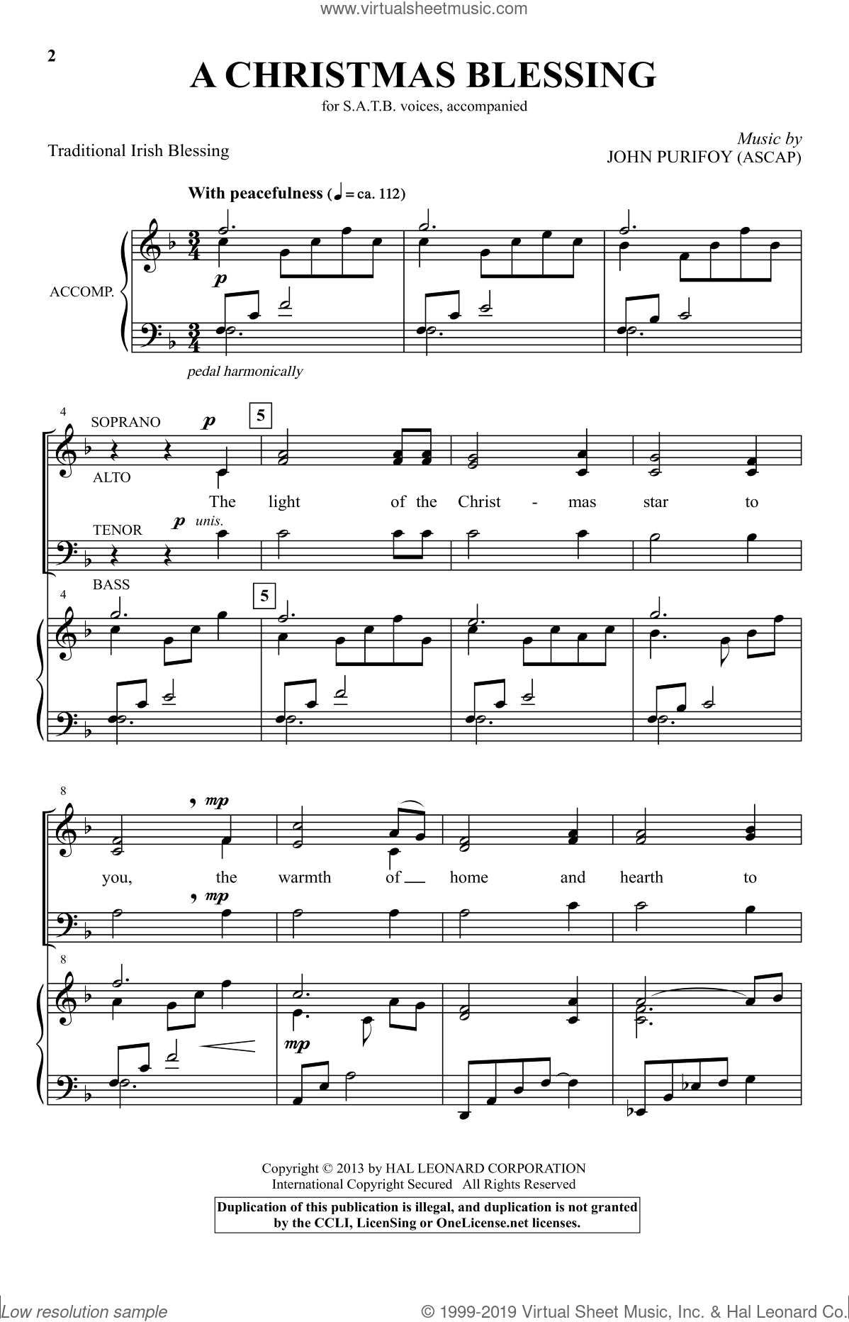 A Christmas Blessing sheet music for choir (SATB) by John Purifoy and Traditional Irish Blessing