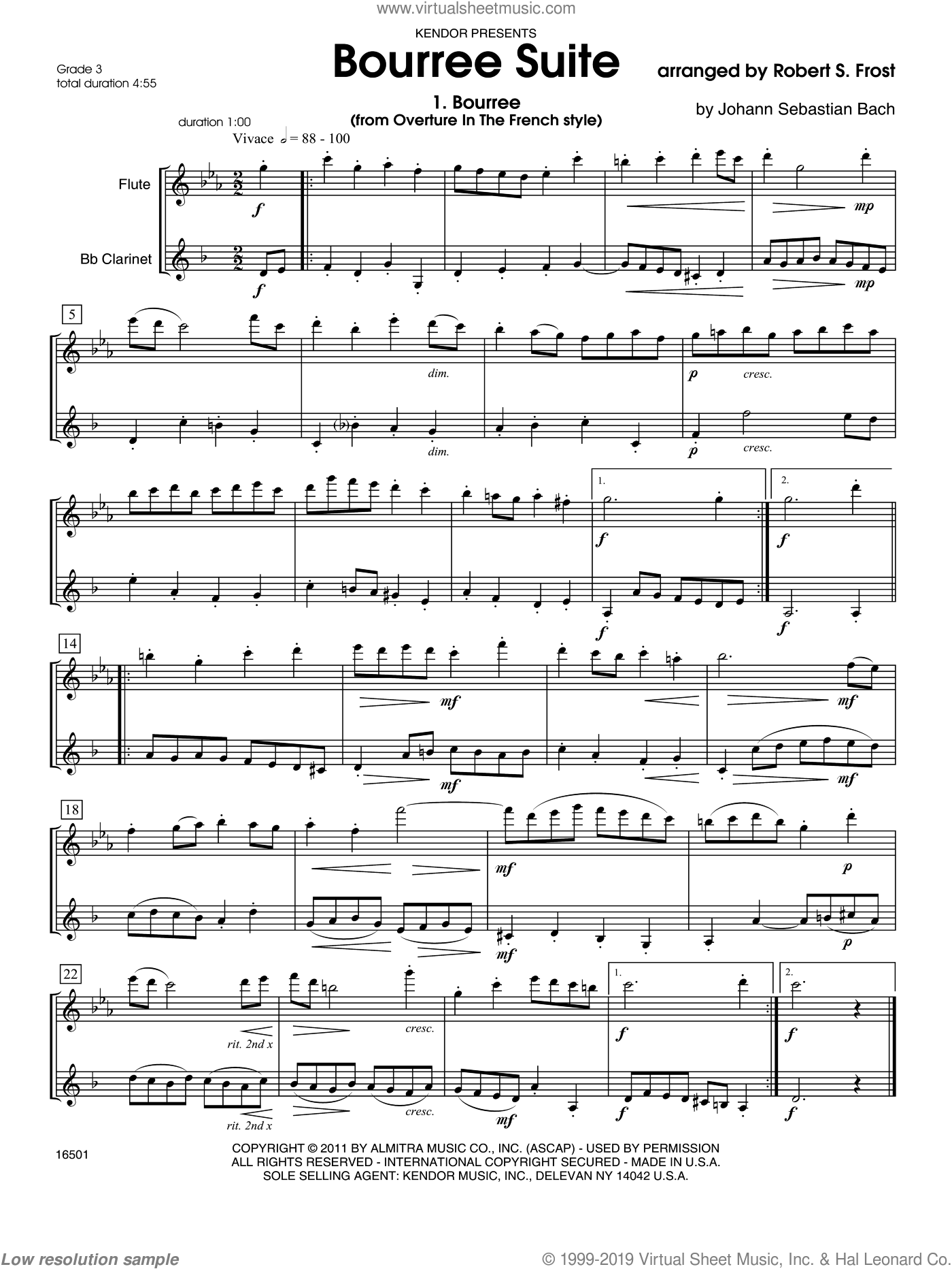Bourree Suite sheet music for flute and clarinet by Frost. Score Image Preview.