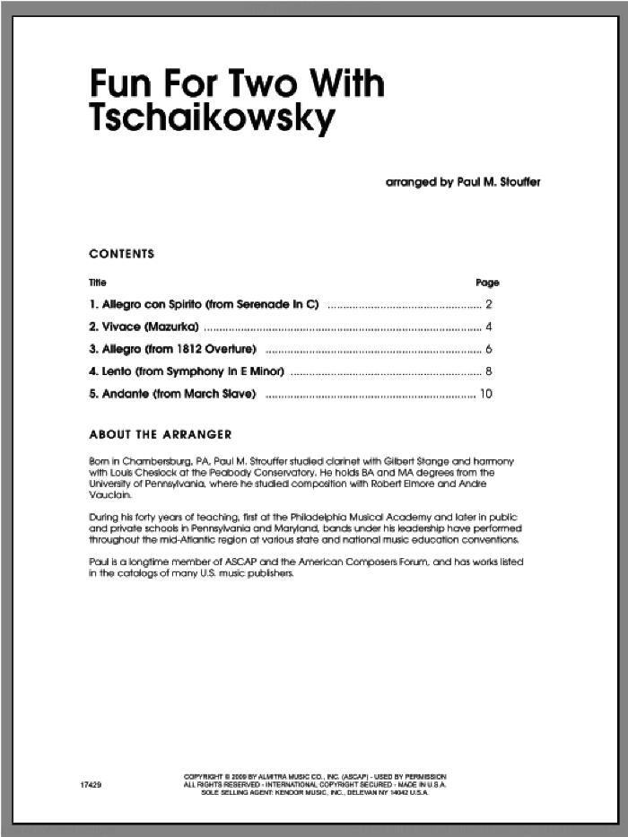 Fun For Two With Tschaikowsky - Trombone Duet sheet music for two brass instruments by Pyotr Ilyich Tchaikovsky, Stouffer and Tschaikowsky, classical score, intermediate duet