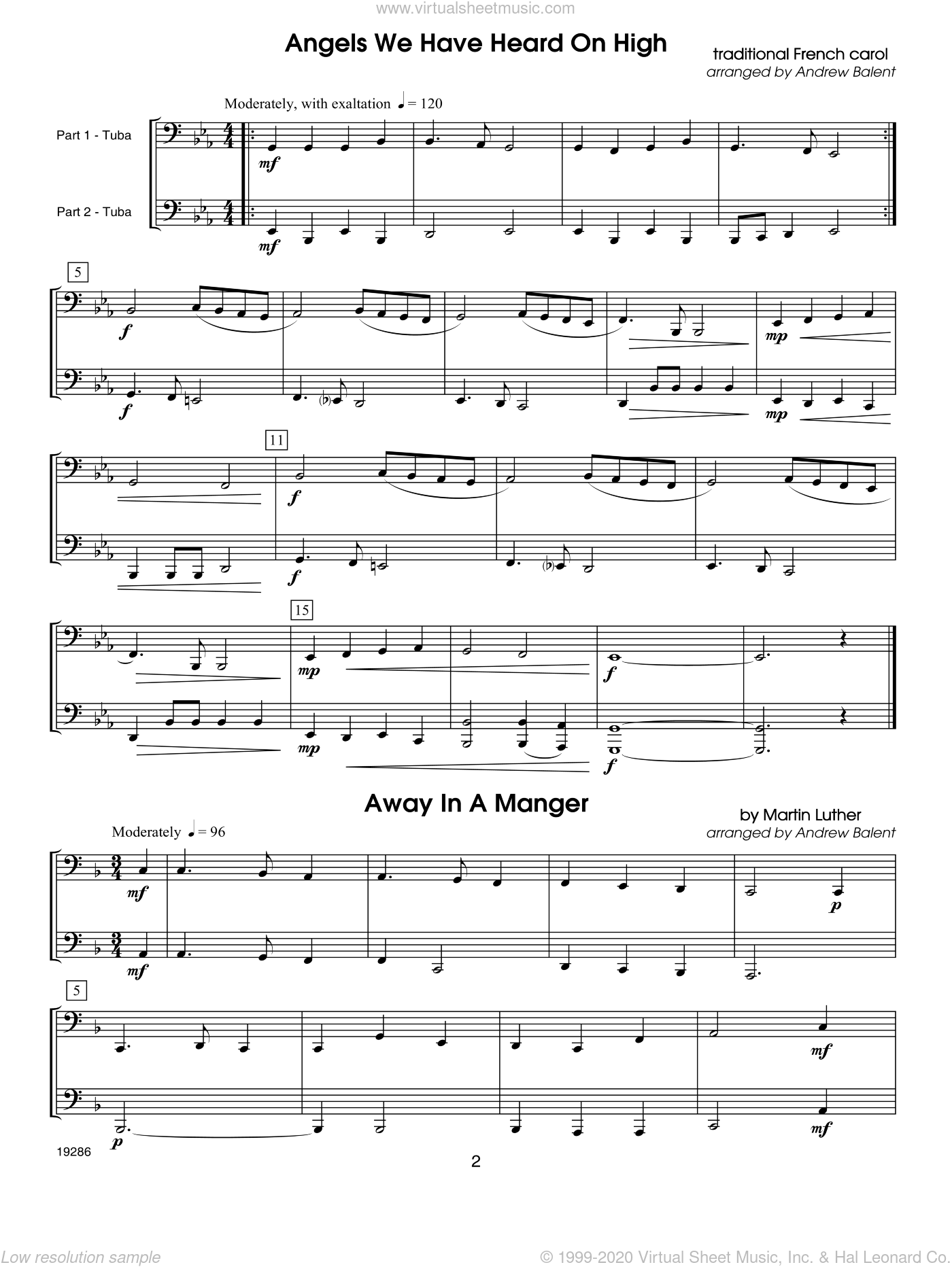 Christmas FlexDuets - Tuba sheet music for two tubas by Balent, classical score, intermediate duet