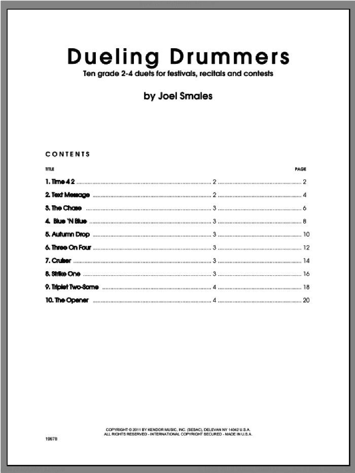 Dueling Drummers sheet music for percussions by Smales, classical score, intermediate skill level