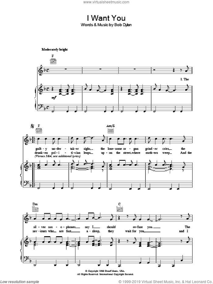 I Want You sheet music for voice, piano or guitar by Bob Dylan. Score Image Preview.