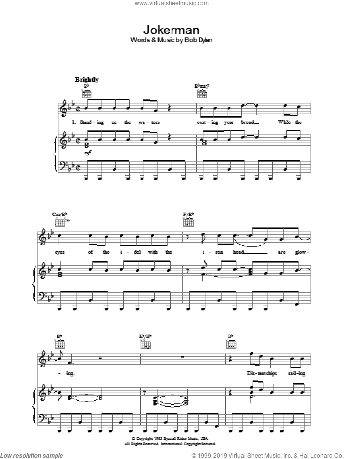 Jokerman sheet music for voice, piano or guitar by Bob Dylan. Score Image Preview.