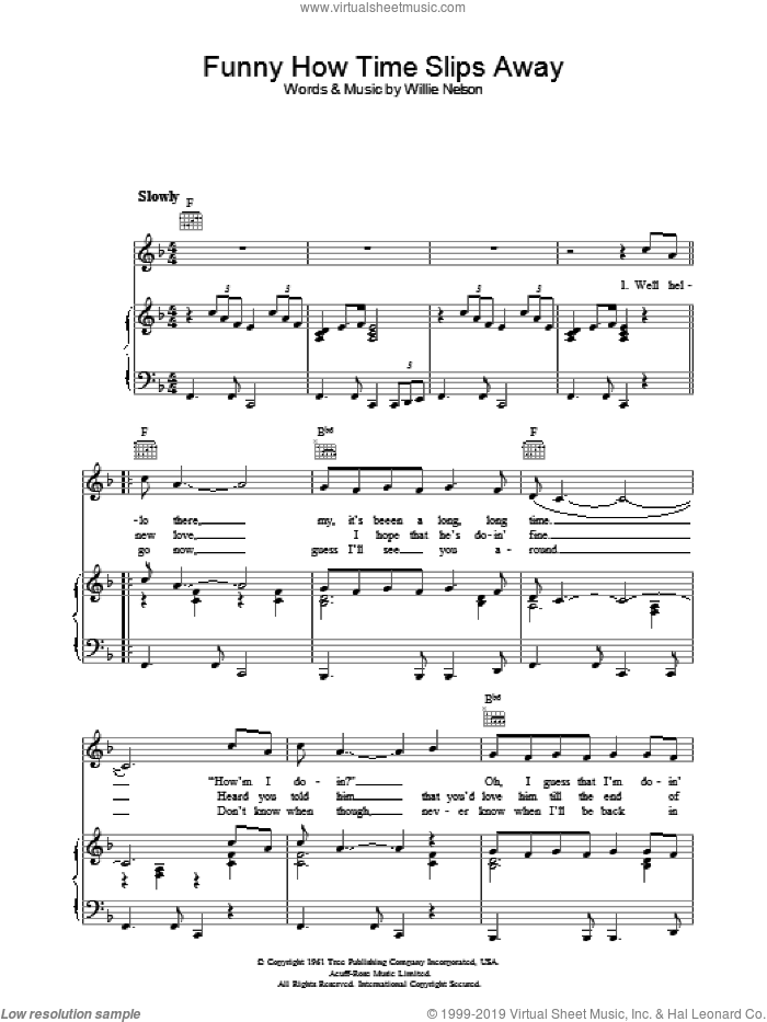 Funny How Time Slips Away sheet music for voice, piano or guitar by Willie Nelson. Score Image Preview.
