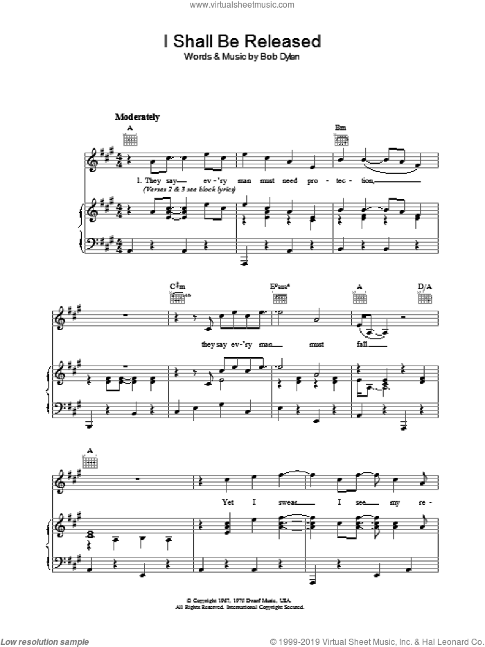Dylan - I Shall Be Released sheet music for voice, piano or guitar