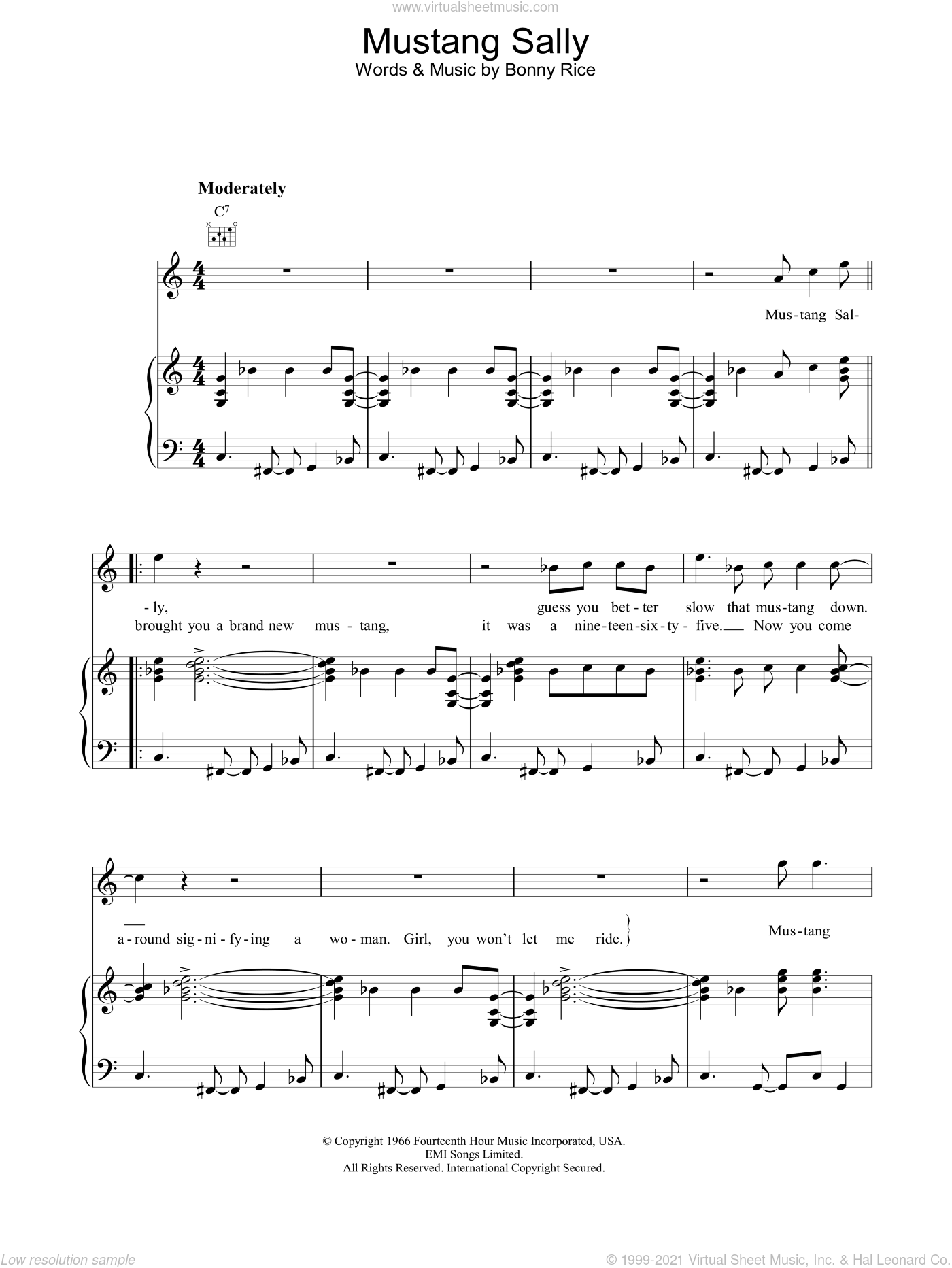 Mustang Sally sheet music for voice, piano or guitar by Bonny Rice