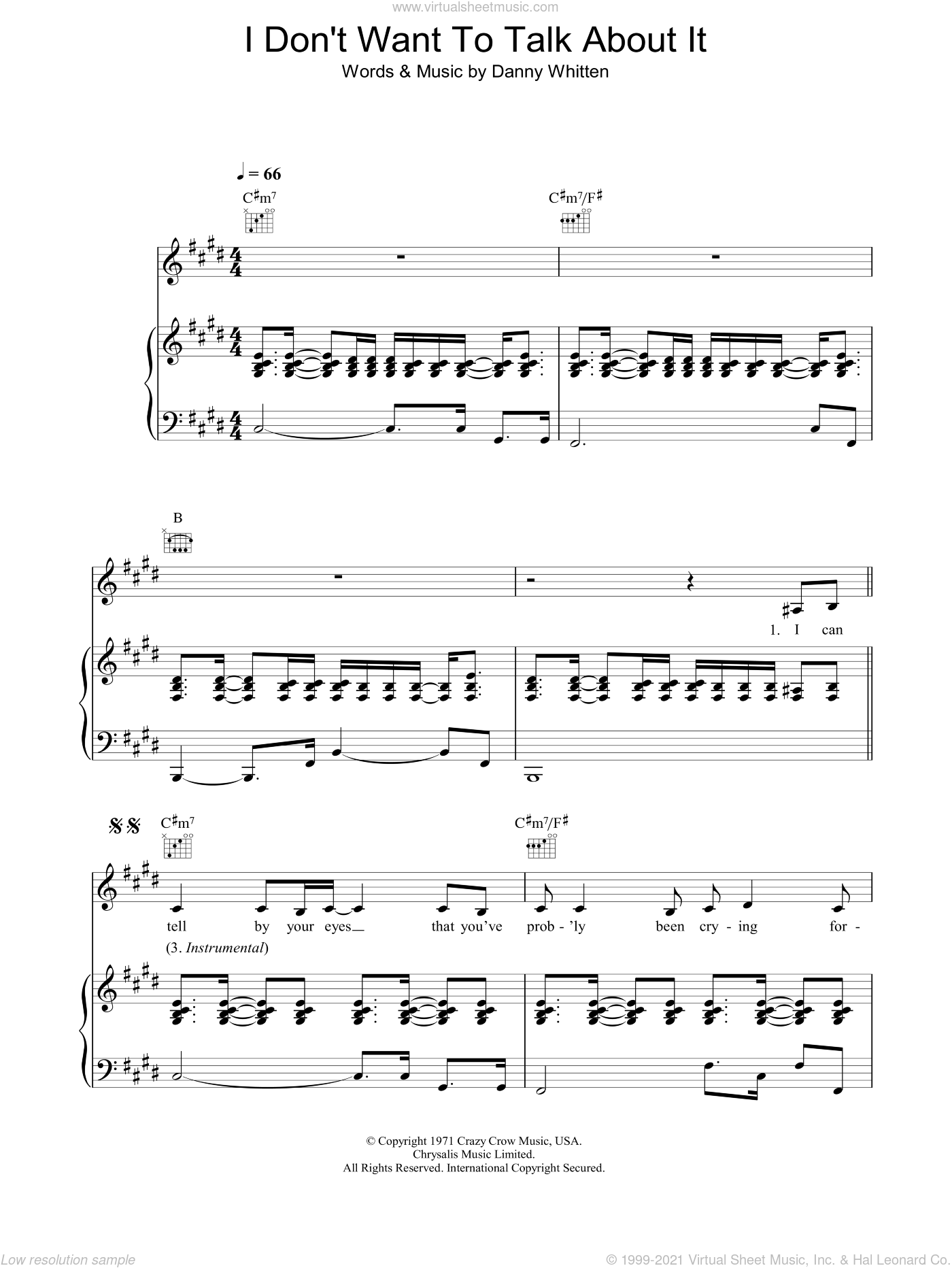I Don't Want To Talk About It sheet music for voice, piano or guitar by Danny Whitten