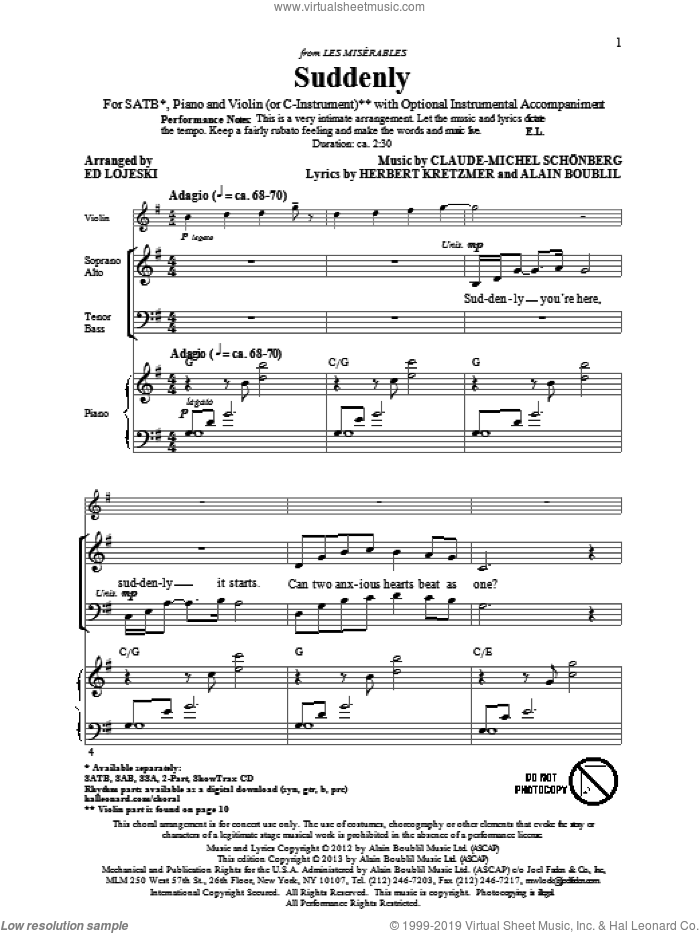 Suddenly (from Les Miserables The Move) sheet music for choir (SATB: soprano, alto, tenor, bass) by Alain Boublil, Claude-Michel Schonberg and Ed Lojeski, intermediate skill level