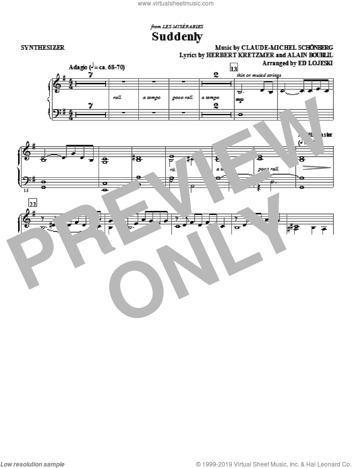 Suddenly (from Les Miserables The Move) sheet music for orchestra/band (synthesizer) by Ed Lojeski