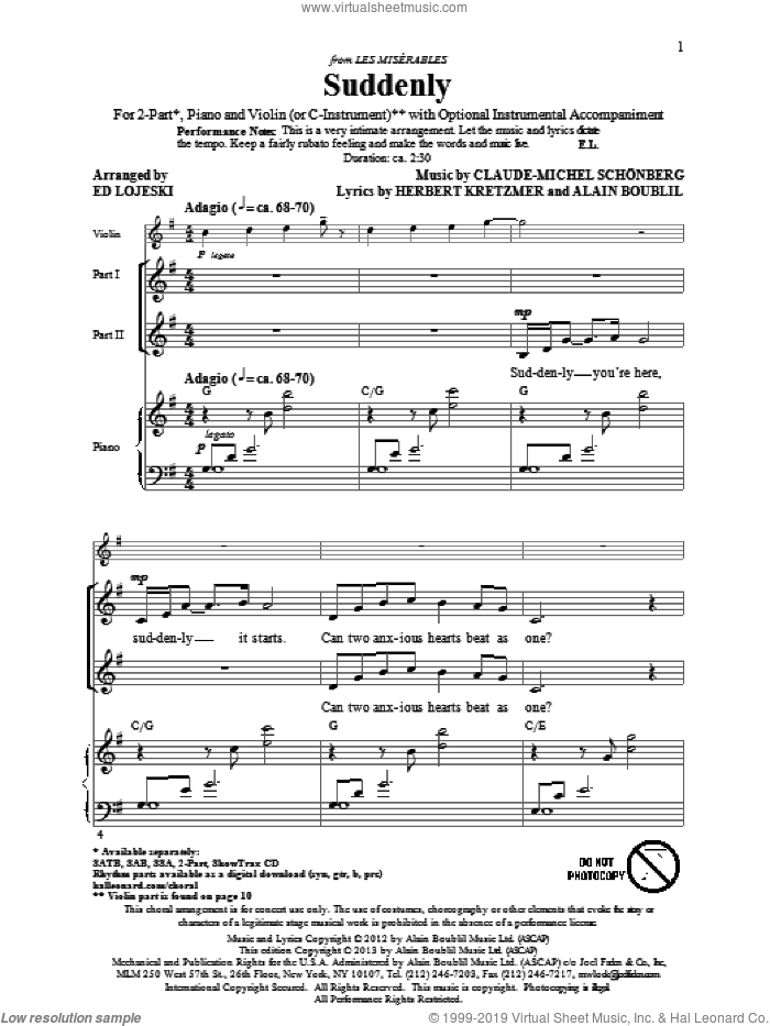 Suddenly (from Les Miserables The Move) sheet music for choir (2-Part) by Alain Boublil, Claude-Michel Schonberg, Ed Lojeski and Les Miserables (Movie), intermediate duet