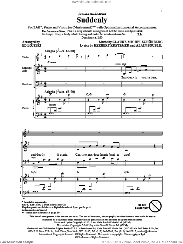 Suddenly (from Les Miserables The Move) sheet music for choir (SAB) by Alain Boublil, Claude-Michel Schonberg, Ed Lojeski and Les Miserables (Movie). Score Image Preview.