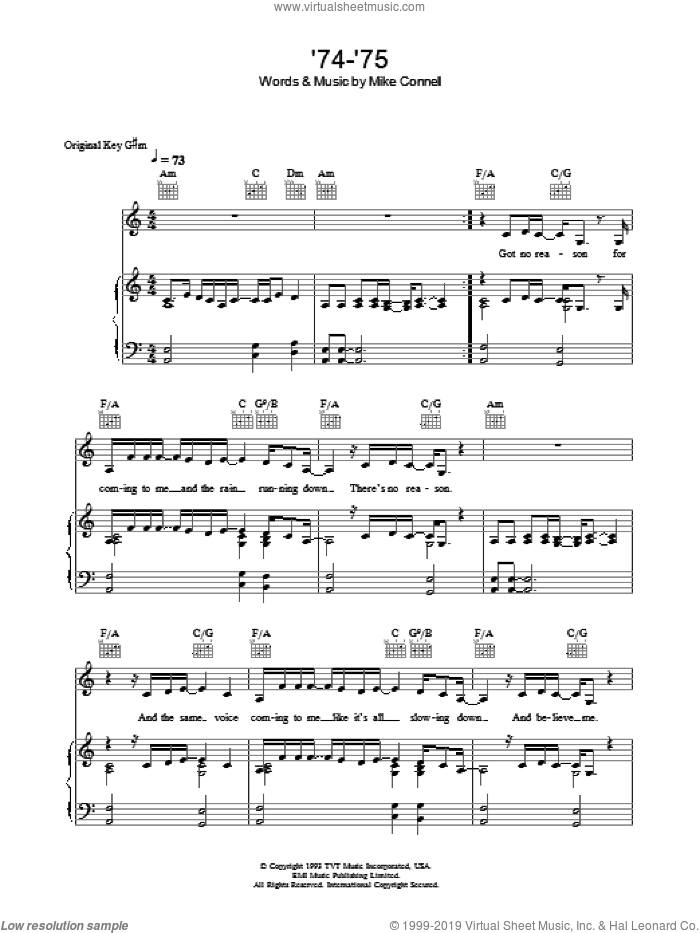 Connells - \'74-\'75 sheet music for voice, piano or guitar [PDF]