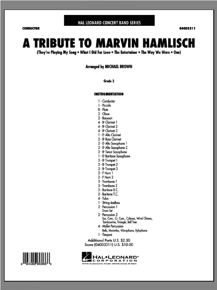 A Tribute To Marvin Hamlisch (COMPLETE) sheet music for concert band by Marvin Hamlisch and Michael Brown, intermediate skill level
