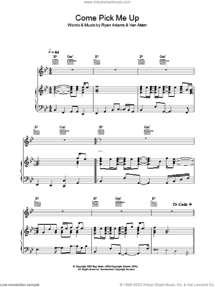 Come Pick Me Up sheet music for voice, piano or guitar by Ryan Adams. Score Image Preview.
