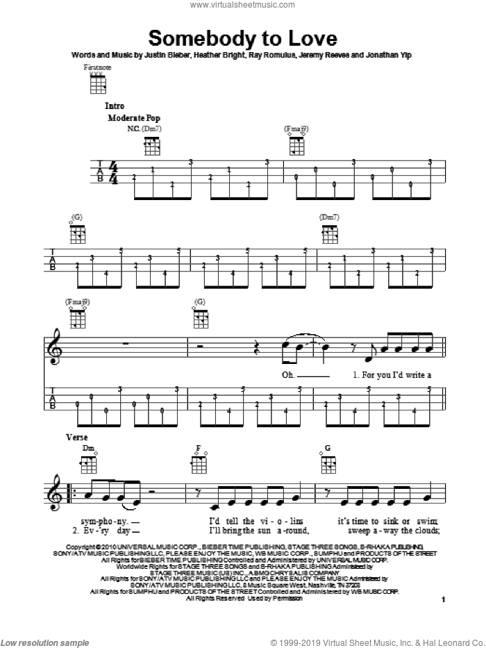 Somebody To Love sheet music for ukulele by Justin Bieber. Score Image Preview.