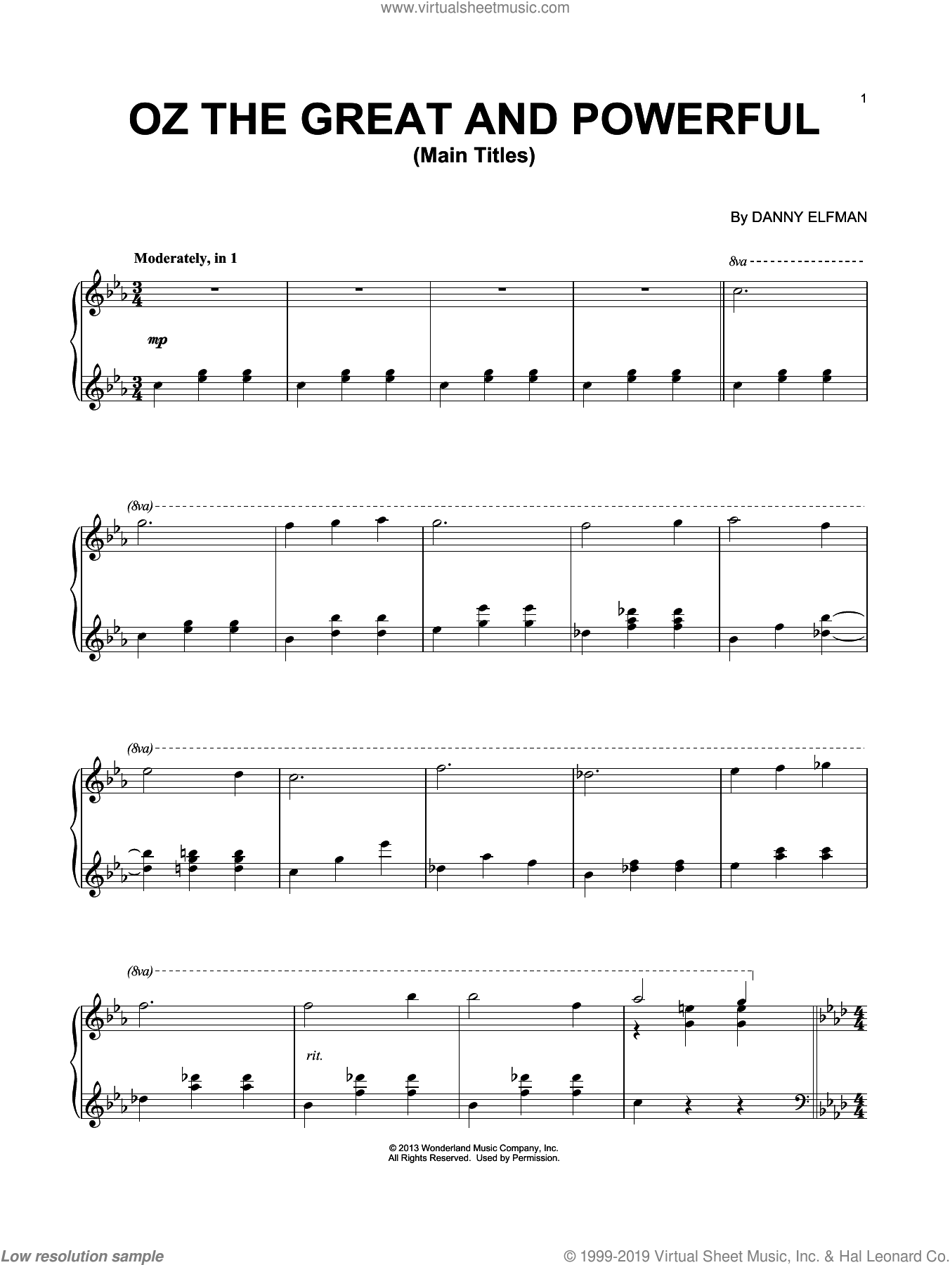 Main Titles sheet music for piano solo by Danny Elfman. Score Image Preview.