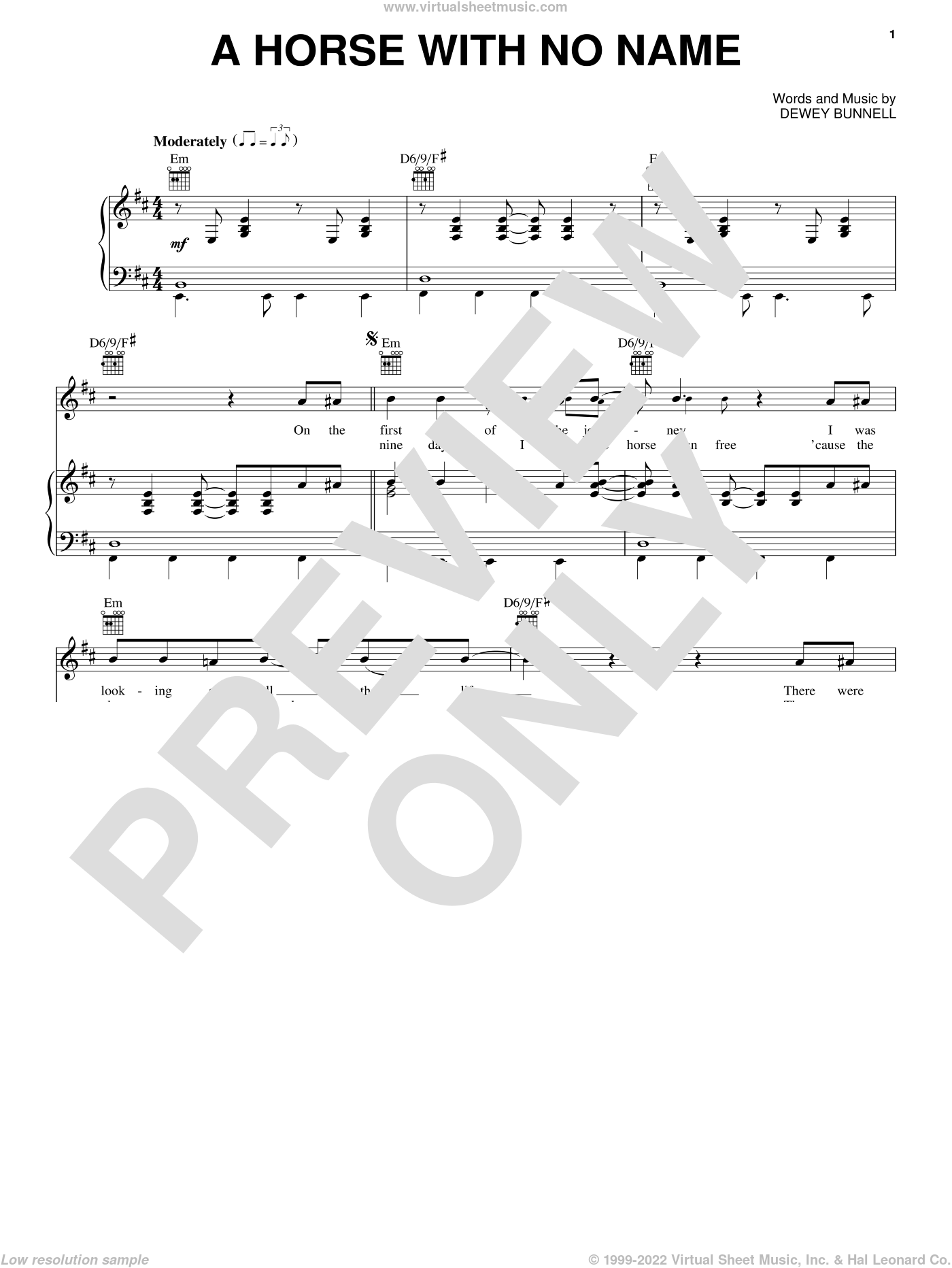 A Horse With No Name sheet music for voice, piano or guitar by America, intermediate skill level