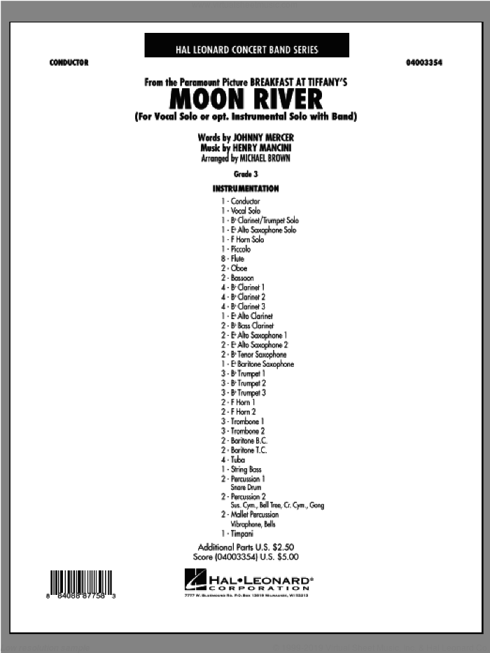 Moon River (COMPLETE) sheet music for concert band by Henry Mancini and Michael Brown, intermediate. Score Image Preview.