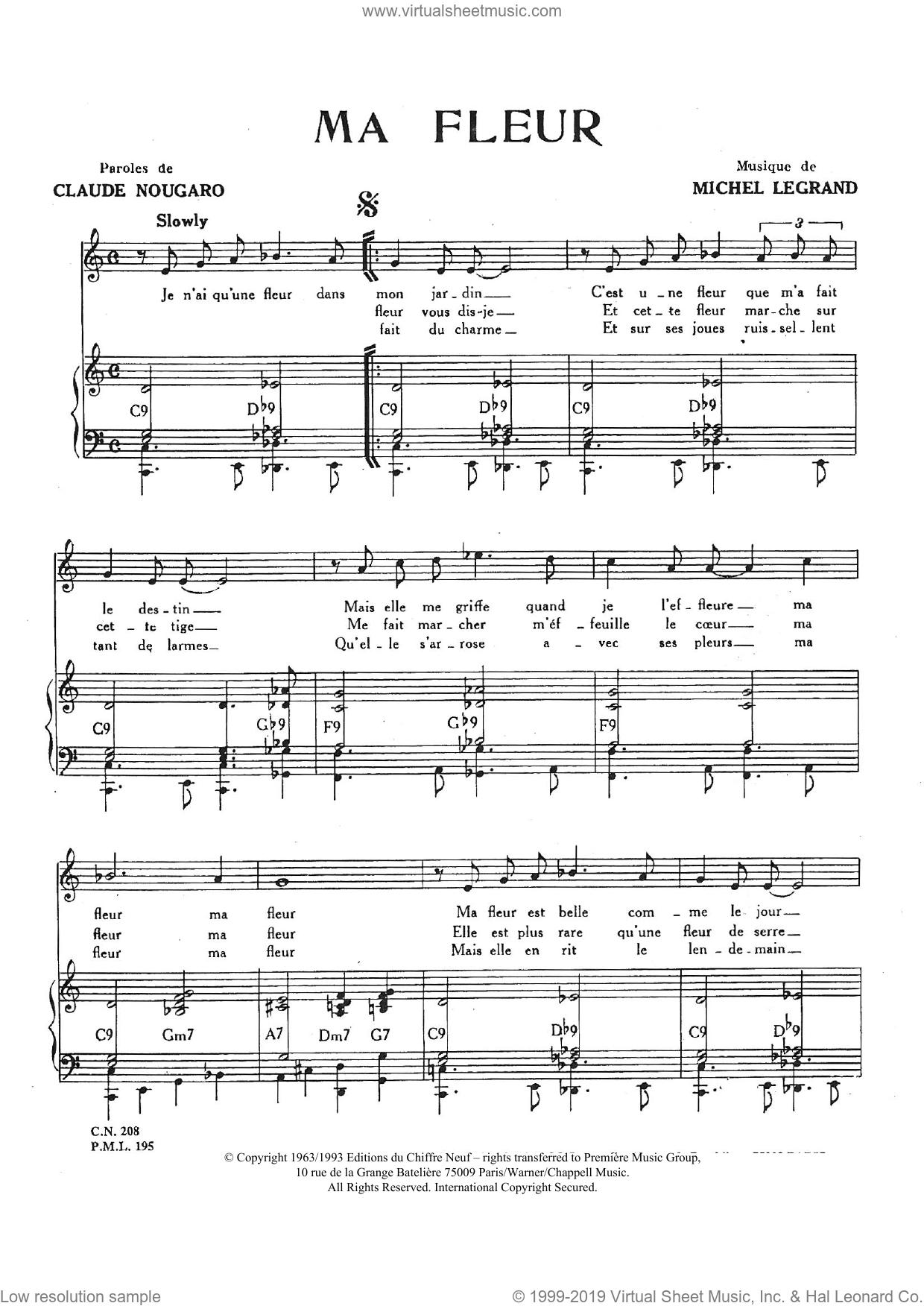 Ma Fleur sheet music for voice and piano by Claude Nougaro and Michel LeGrand, intermediate skill level