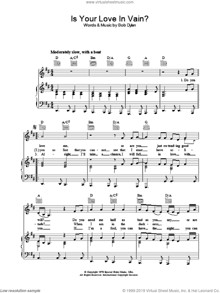Is Your Love In Vain sheet music for voice, piano or guitar by Bob Dylan. Score Image Preview.