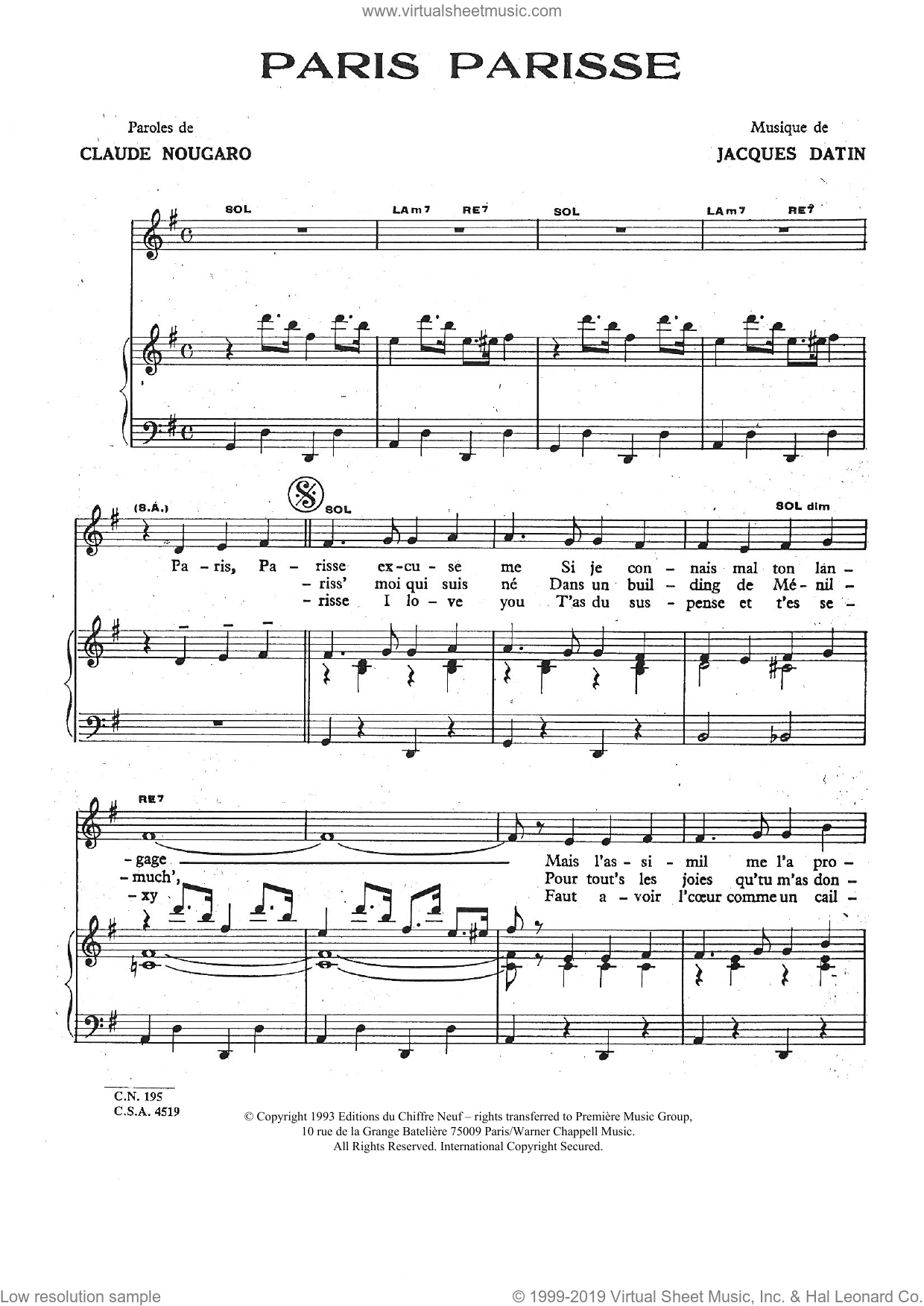 Paris Parisse sheet music for voice and piano by Claude Nougaro. Score Image Preview.