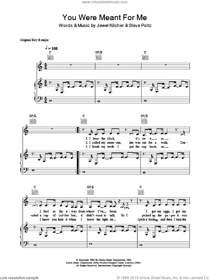You Were Meant For Me sheet music for voice, piano or guitar by Steve Poltz, Jewel and Jewel Kilcher. Score Image Preview.