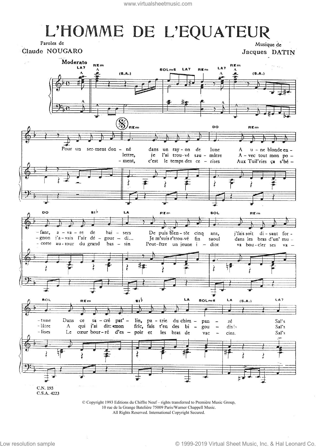 Homme De L'equateur sheet music for voice and piano by Claude Nougaro, intermediate. Score Image Preview.