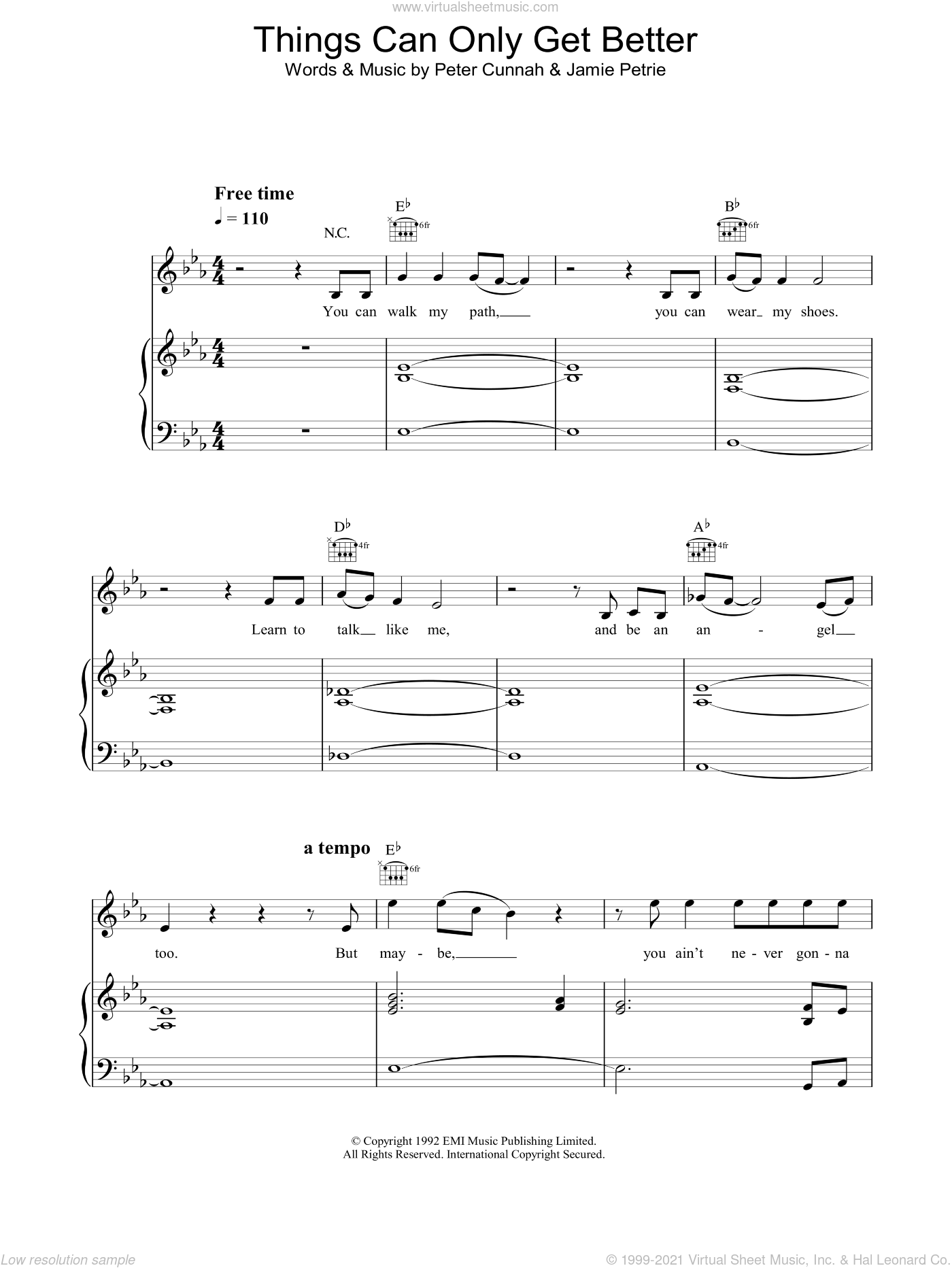 Things Can Only Get Better sheet music for voice, piano or guitar by Dream, intermediate voice, piano or guitar. Score Image Preview.
