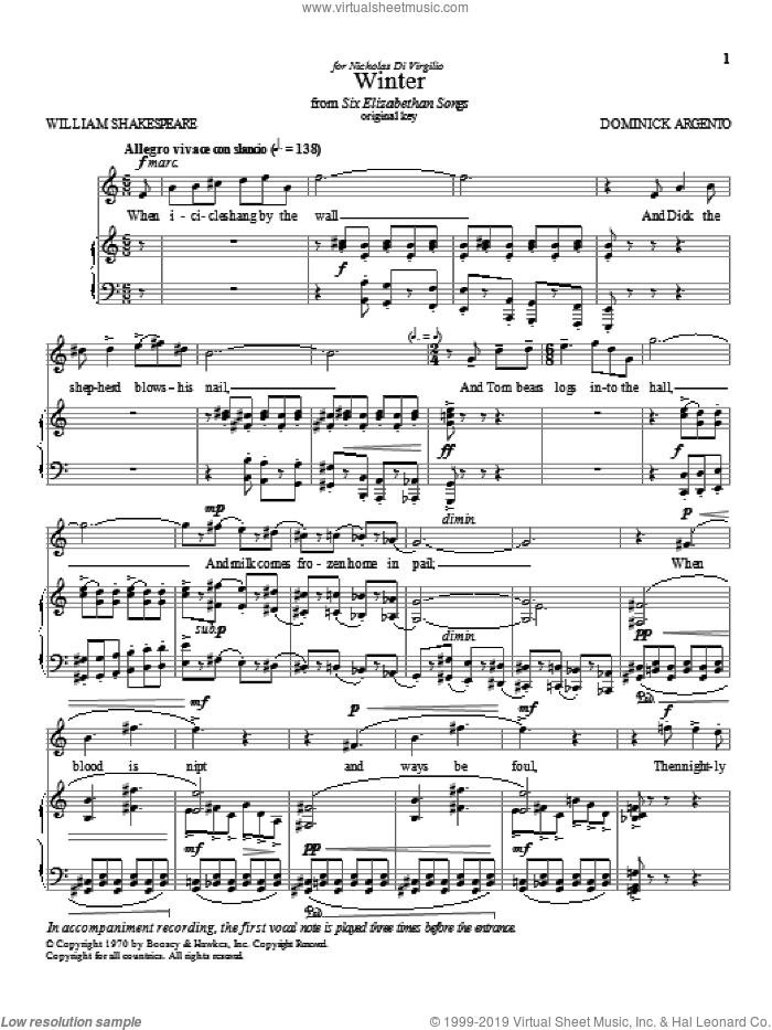 Winter sheet music for voice and piano (High Voice) by Dominick Argento, classical score, intermediate skill level