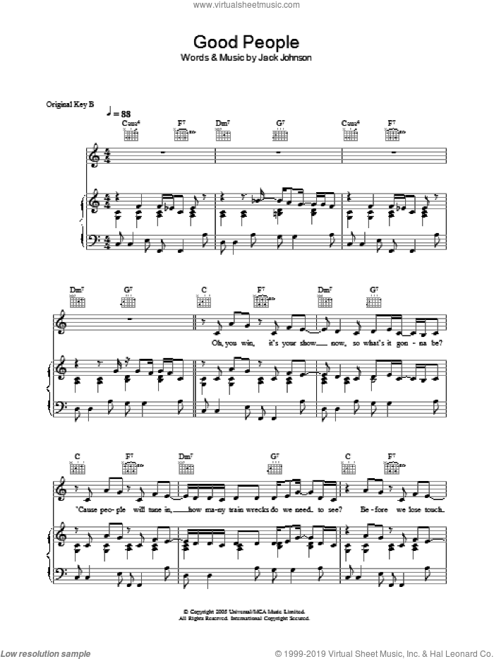 Good People sheet music for voice, piano or guitar by Jack Johnson