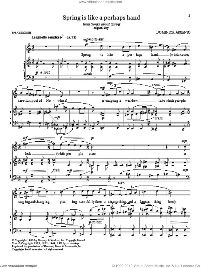 Spring is like a perhaps hand sheet music for voice and piano (High Voice) by Dominick Argento, classical score, intermediate skill level