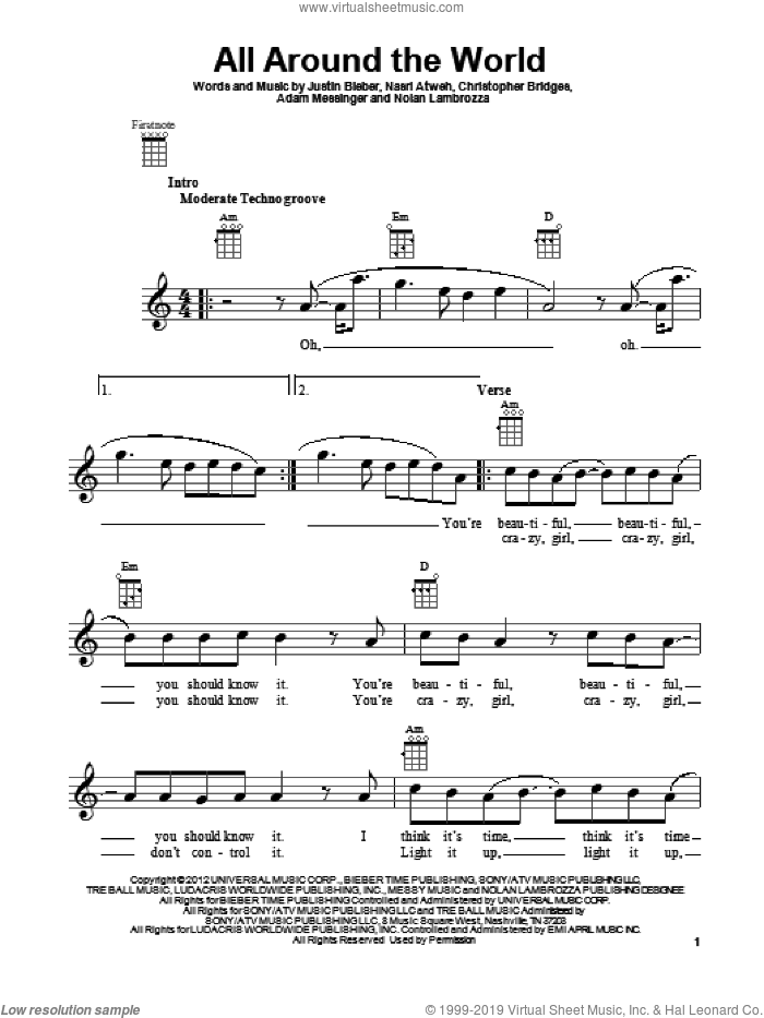 All Around The World sheet music for ukulele by Justin Bieber, intermediate. Score Image Preview.