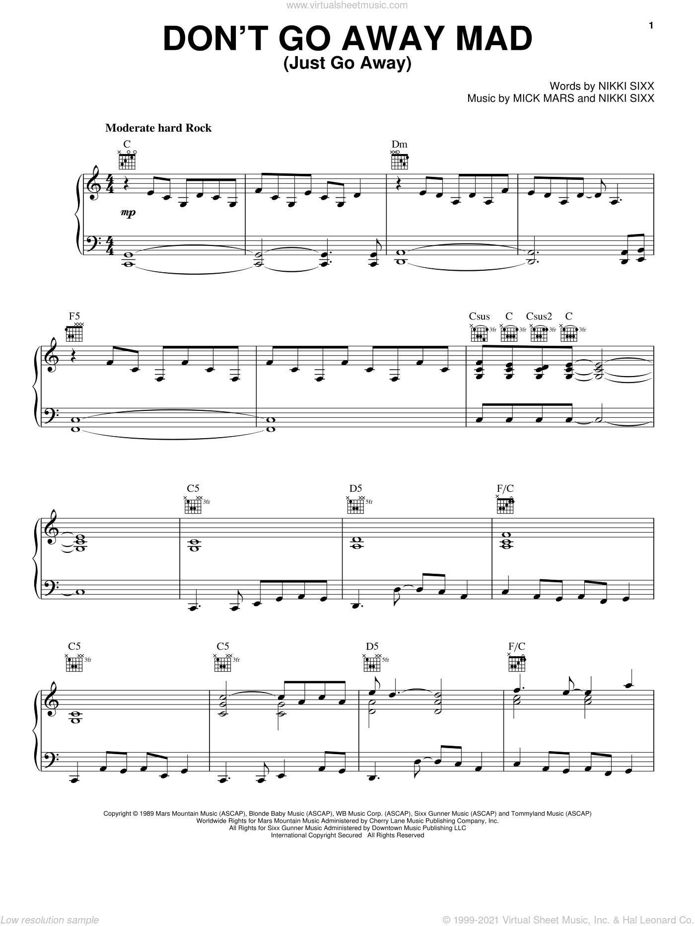 Don't Go Away Mad (Just Go Away) sheet music for voice, piano or guitar by Motley Crue, intermediate skill level